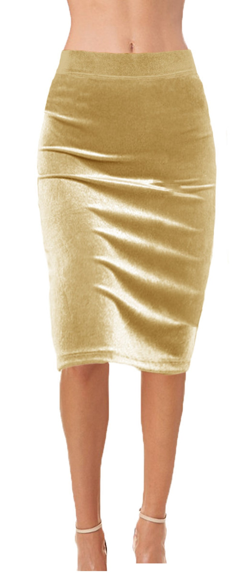 Stretch Velvet Pencil Skirt with Flat Elastic Waistband  Special Occasion  Ooh la la