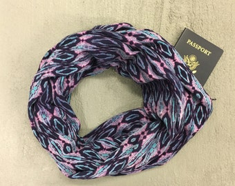 Purple Diamond Print Infinity Scarf with Hidden Zipper Pocket / Hidden Pocket Scarf