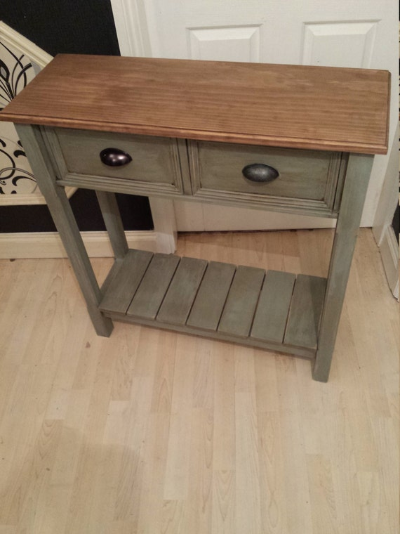 Beautiful Modern Shabby Chic Console Table With Shelf Etsy