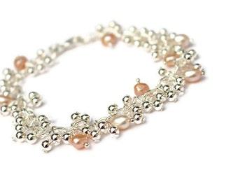 Pearl bracelet - Silver bracelet - Pearl jewelry -  Bridal bracelet - Wedding bracelet - Bridal jewelry - Wedding jewelry - Gift for her
