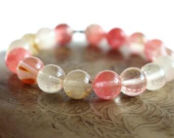 Cherry quartz bracelet - Beaded bracelet - Yoga bracelet - Wrist Mala bracelet - Womens yoga jewelry - chakra bracelet - boho jewelry ideas