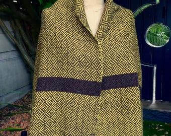 Châle diamant jaune 100% laine teintures végétales 472e1b53006