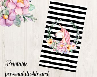 Unicorn Personal Planner Dashboard Printable for Filofax, Kikki K, Webster's Pages