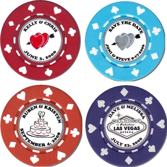 100 Magnetic Custom Unique Wedding Poker Chip Favors Etsy