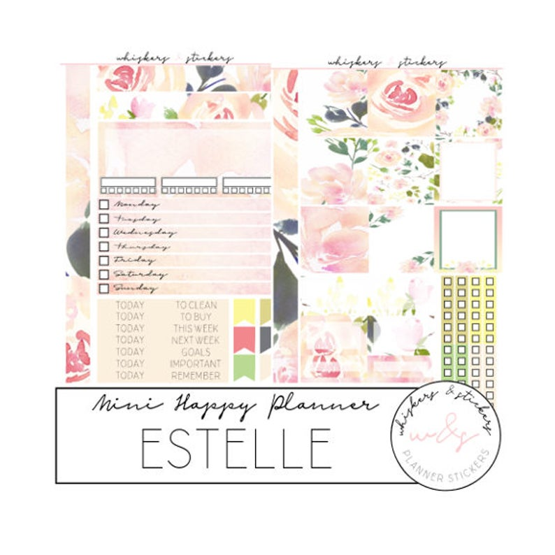 weekly sticker kit functional stickers spring stickers day headers MINI HAPPY PLANNER Floral planner stickers washi strips Estelle