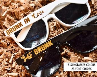 Personalized Bachelorette Sunglasses: Bridesmaid Sunglasses, Team Bride, Drunk in Love, Just Drunk, Bride Squad
