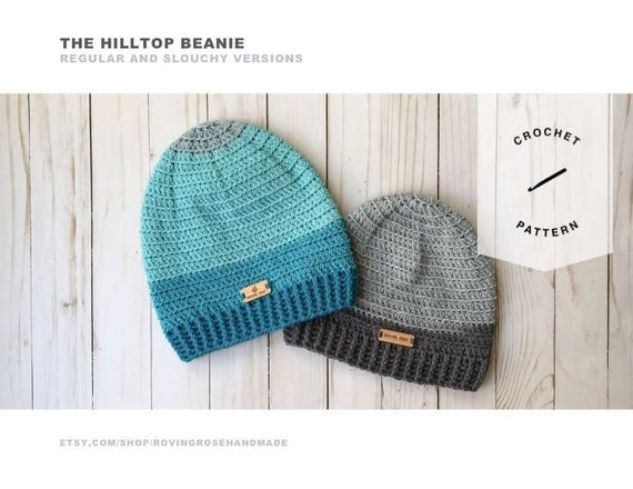 Hilltop Beanie Crochet Pattern For Slouchy Beanie And Regular Etsy
