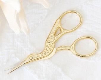 Bird Scissors. Embroidery Shears. Gold Stork Scissors. Crane/Heron Scissors. Fine Point/Tip Blade. Sewing Kit. Antique Inspired. Travel Size