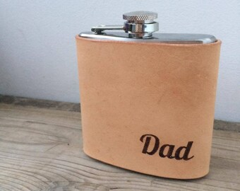The Dad Hip Flask, Leather Hip Flask, Dad Gift