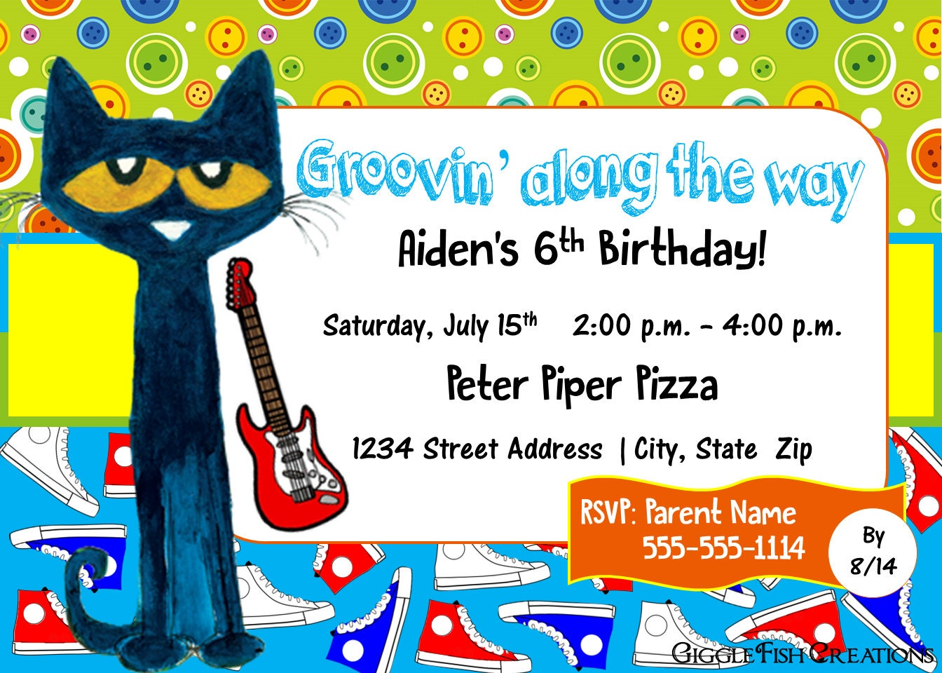 Pete the Cat Birthday Party Invitation Digital File   Etsy