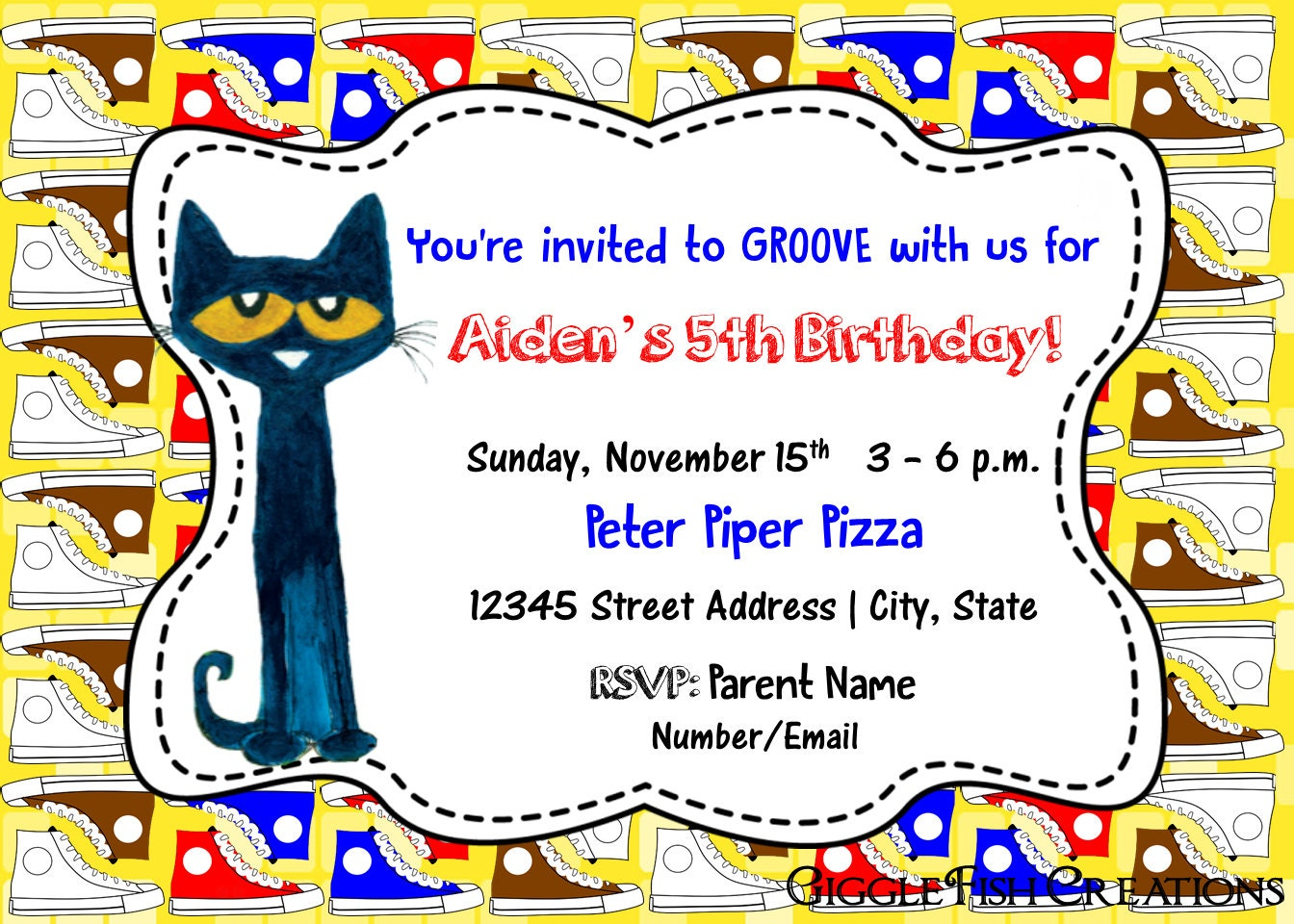 Pete the Cat Birthday Party Invitation White | Etsy