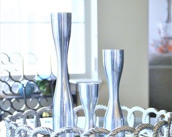 Danish Modern Style Metal Candlesticks   Set of Three Mid Century Modern Hourglass Candle Holders   Silver Candle Holder   Hourglass Candle