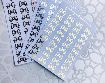 Bow Foiled Stickers  - Planner Stickers - Bullet Journal Stickers