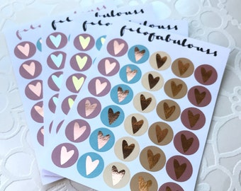 Foiled Heart Stickers 'Ice Cream'   - Planner Stickers - Bullet Journal Stickers