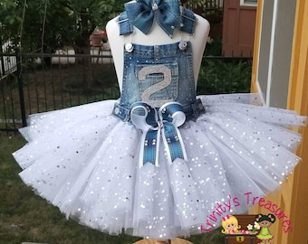 e06ce94404 Denim Birthday Outfit Overall Tutu Diamonds   Pearls Outfit