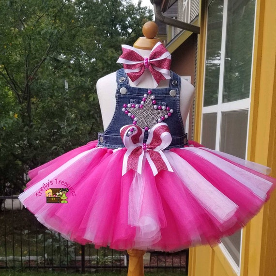 fcf4a04293 Pink Denim Birthday Outfit Overall Tutu Diamonds   Pearls