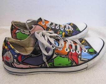 4e6aa5a27f4b Vintage CARTOON CONVERSE All Star RETRO Style Sneakers.9-Men 11-Wom 42.5Eur