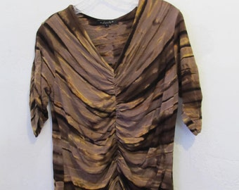 4bd08021ed1d75 A Women's,Vintage 90's,GROOVY Brown Toned,ANIMAL Print V Neck Top By DUNIA.L