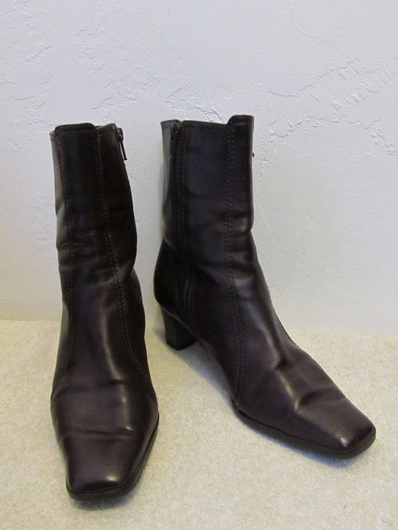Leather Vintage Amalfi Ankle by ITALIAN Dark 5B 7 90's Zip Boots Women's MOD Brown 8Y5wPHPq