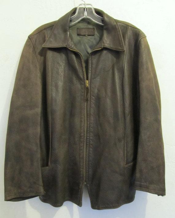 A Women's Mod Vintage 60's,Brown Zip Front Supple