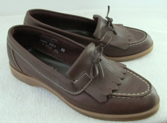 Down Brown amp; Women's 5 Fringe 80's Marked Vintage PINWHEELS Cute with By 7 Loafers PREPPY UdaAw4x