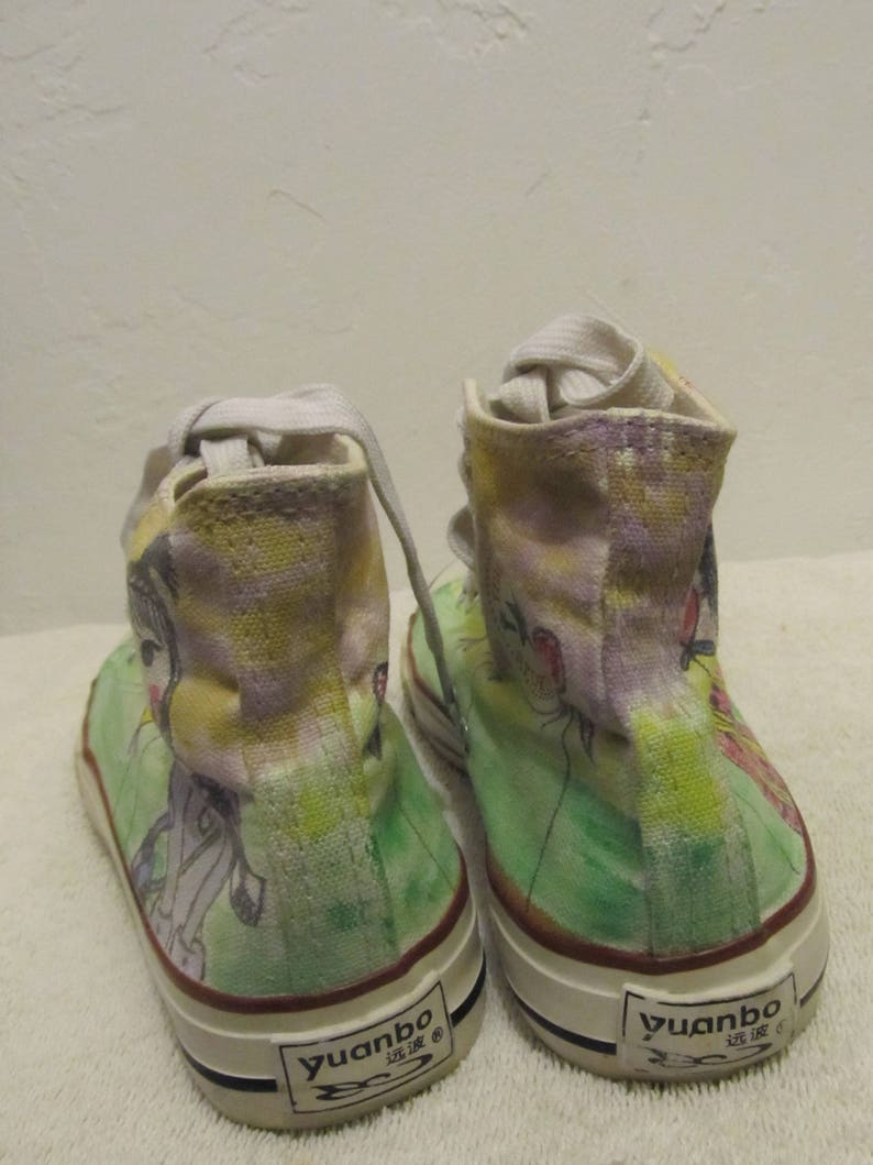 Carino Vintage 90'sASIAN Style All Star PAINTED Hi Top SfGDEVq1