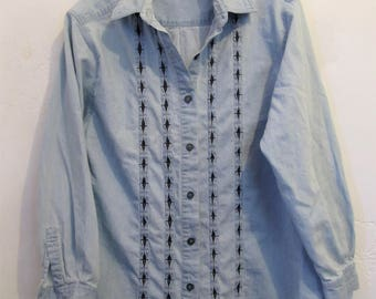 A Neat Vintage 90's,Light Blue DENIM Blouse With RUFFLED Panels By BLAST.L-Pet