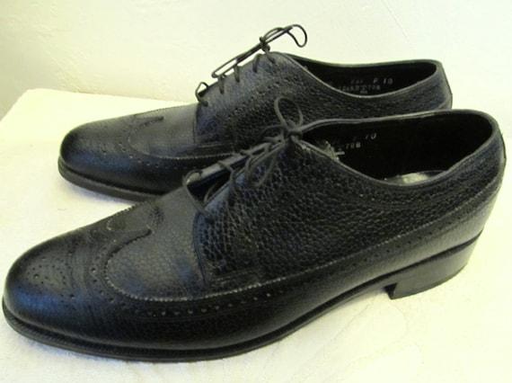 Men's Vintage 70's,Classy Black WINGTIP Shoes By T