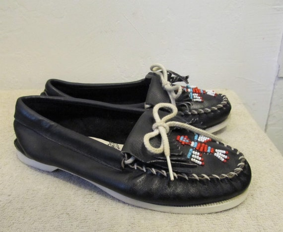 Beaded NATIVE Minnetonka Black AMERICAN Women's 7 Colored By Vintage 80's MOCCASINS wqAxYaI