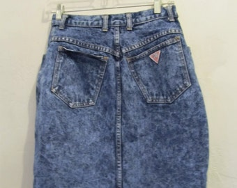 A Women's Vintage 80's,Blue STONEWASHED Denim SKIRT By GUESS.28(7)