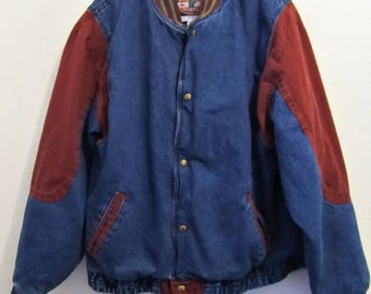 A Men's Vintage 80's,Quilted 2-Tone Denim & Twill Jacket By EAGLES RIDGE.XL(46L)