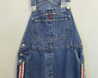 Women's Vintage 90',Blue Denim SHORTALLS With Red,White & Blue Stripes By BUM EQUIPMENT.L(14)