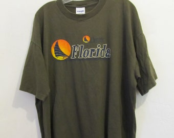 A Neat Vintage 90's,Olive Green,Short Sleeve FLORIDA T Shirt By WRANGLER.2xl