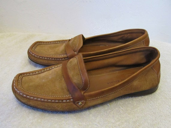 MOCS Women's LEATHER 90's Vintage By Front SUEDE Etienne Brown 9M Aigner amp; Loafer Square zdzB0qrxw
