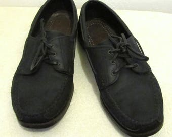Marked Down 30%@@Men's Vintage 90's Black Colored Leather BOAT SHOES By DEXTER.10.5M