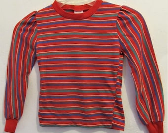 A Girl's Vintage 70's,Striped Red HIPPIE Era Top By ANDOVER TOGS.S