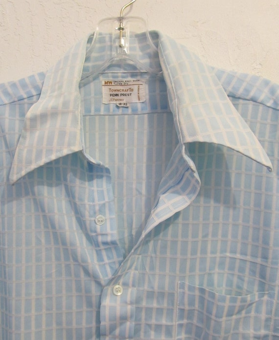 A Men's Vintage 70's,Long Sleeve,Baby Blue Double… - image 3