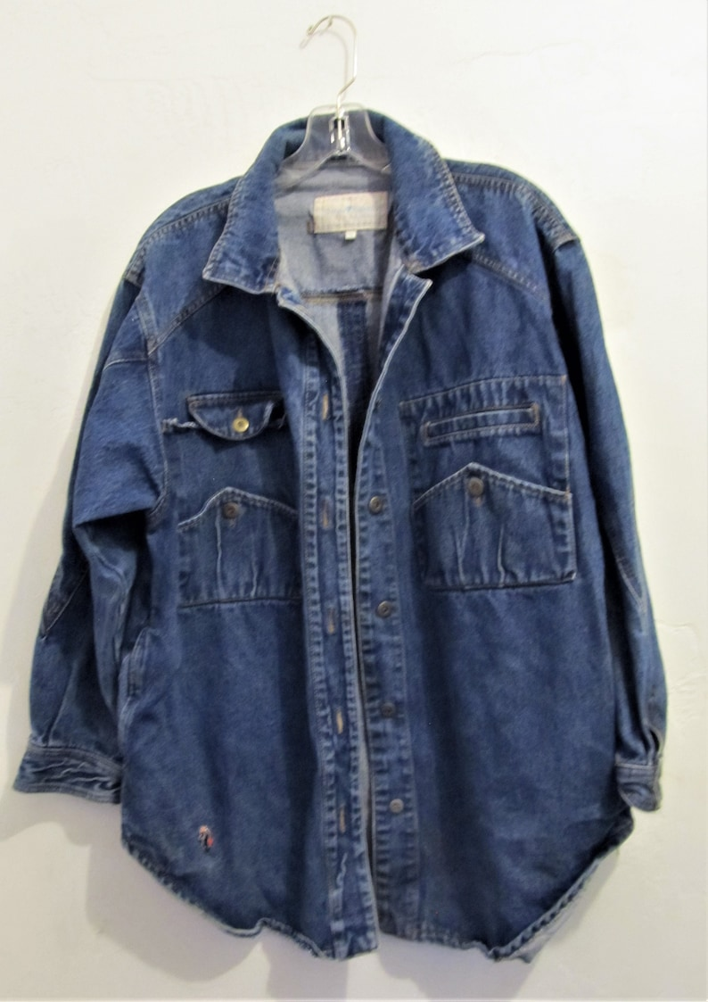 516f6771bb A Men s Vintage 80 sFUNKY Oversize Blue DENIM indie