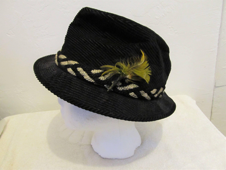 A Mens Vintage 60 sBlack Corduroy FEDORA Hipster Hat.7  b131f31f801