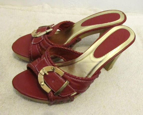 MULE Hi Sandals Red Buckle SEXY 6 Heel Vintage 80's Clogs FPZqwp1O6