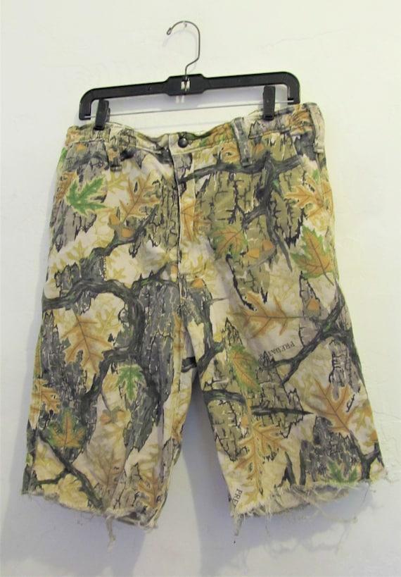 Men/'s,Vintage 80/'s,CAMO Cut-off PREDAT0R Shorts By HIDDEN WOLF Woolens,Inc.32