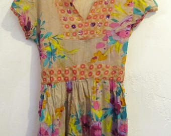 A Pretty,Vintage 90's,Short Sleeve Floral BOHO India Made Blouse By FUNKY PEOPLE.S
