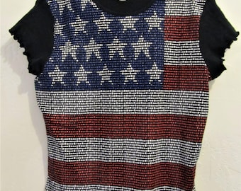 A Neat Vintage 90's Black Short Sleeve,Red,White & Blue Front, T Shirt By FASHION BUG.M