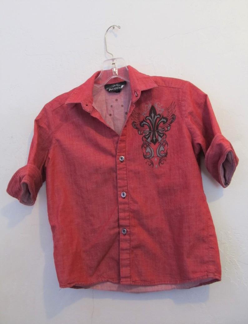 A Teens Girls Vintage 90/'s,12 Sleeve Red DENIM Blouse By JUAGAARS.12
