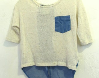 Marked Down @@A Neat Vintage 90's Knit Short Sleeve,Part DENIM Top By KIDDO.L