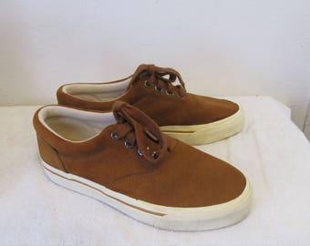 Men's Vintage 90's Brown SUEDE Deck Sneakers By LANDS' END.