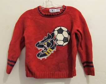A Kid's CUTE Vintage 90's,Red Ramie & Cotton SOCCER Theme Sweater By KITESTRINGS.M-8