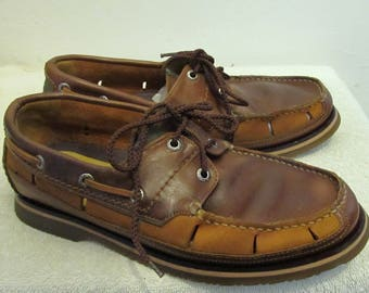 Men's Vintage 90's 2 Tone Brown Perforated BOAT SHOES By NAUTICA.6.5US/5.5/38.5