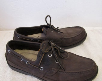 Men's Brown Vintage Leather BOAT SHOES By TIMBERLAND.9.5M