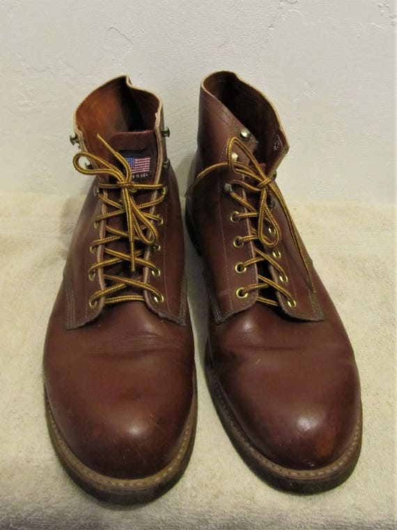 Bottom WORK SPORT Vintage N' Men's 70's ANKLE Boots By Cork 13D Red X81nwg